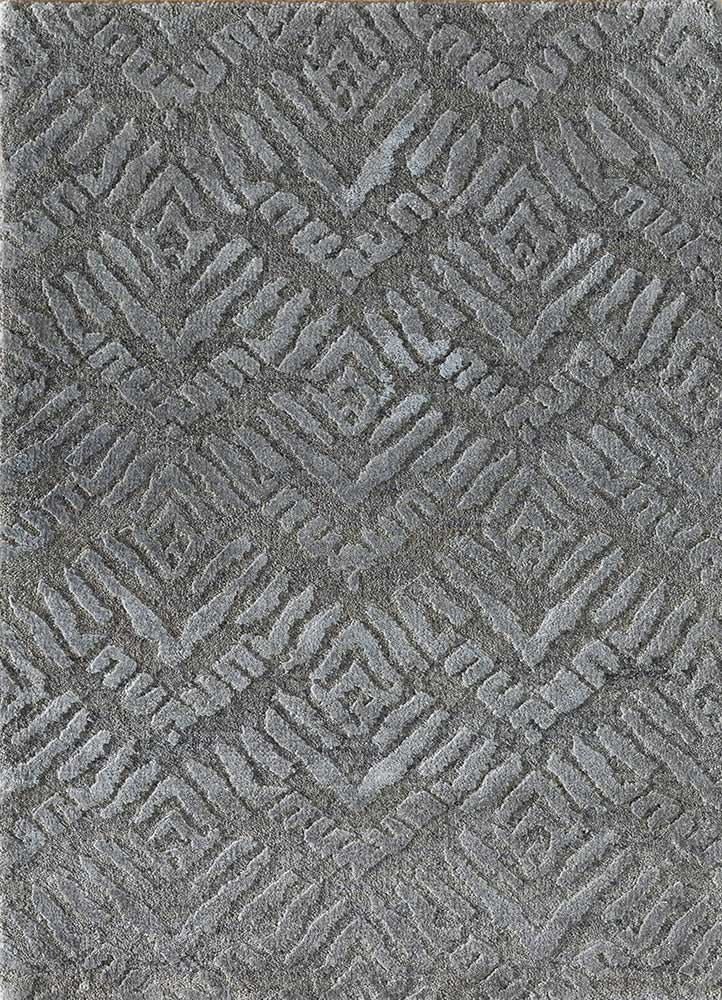 LRB-7024 Medium Gray/Nickel grey and black wool and bamboo silk hand knotted Rug