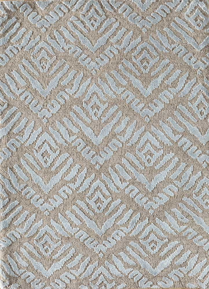LRB-7024 Linen/BlueBell ivory wool and bamboo silk hand knotted Rug