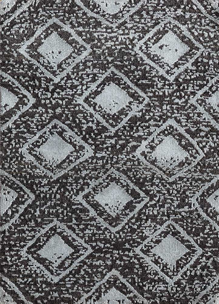 LU-101 Liquorice/Nickel grey and black wool and bamboo silk hand knotted Rug