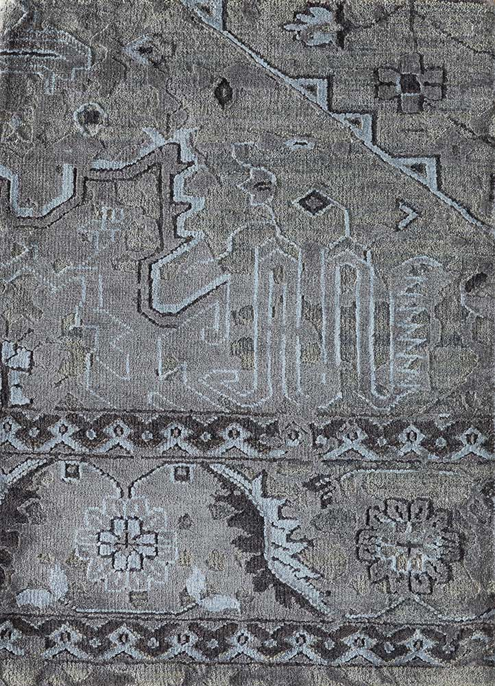 liberty grey and black wool and bamboo silk hand knotted Rug - HeadShot