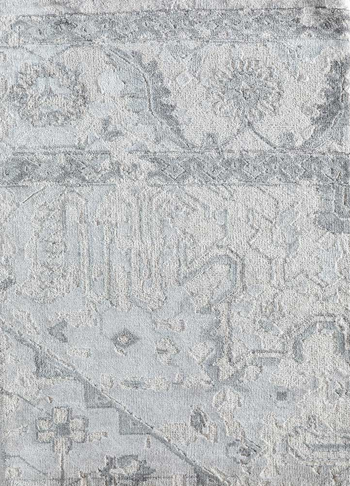 LU-102 Classic Gray/White grey and black wool and bamboo silk hand knotted Rug