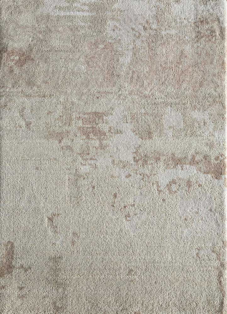 LU-9031(CS-01) White/Flax ivory wool and bamboo silk hand knotted Rug