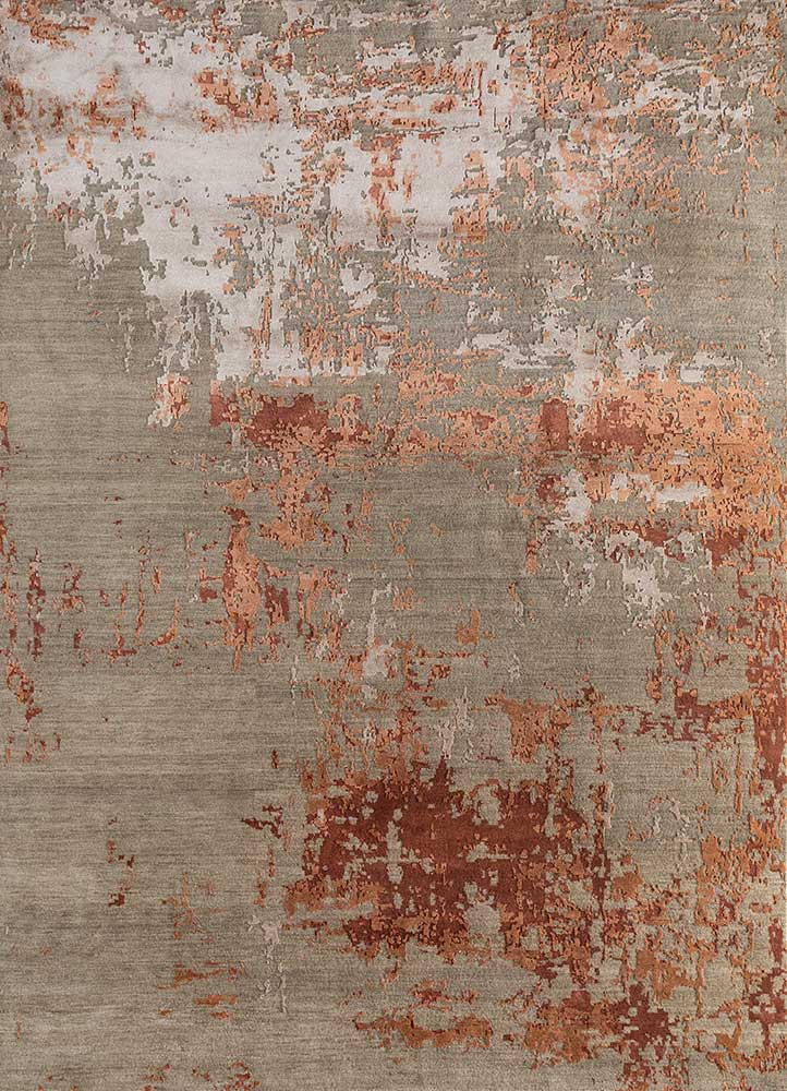 LU-9031(CS-01) Mink/Red Oxide beige and brown wool and bamboo silk hand knotted Rug