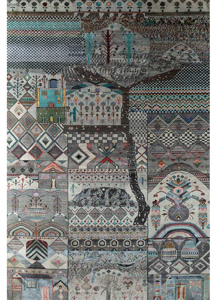 artisan originals grey and black wool and silk hand knotted Rug - HeadShot