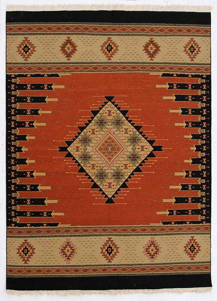 jaimak red and orange wool hand knotted Rug - HeadShot