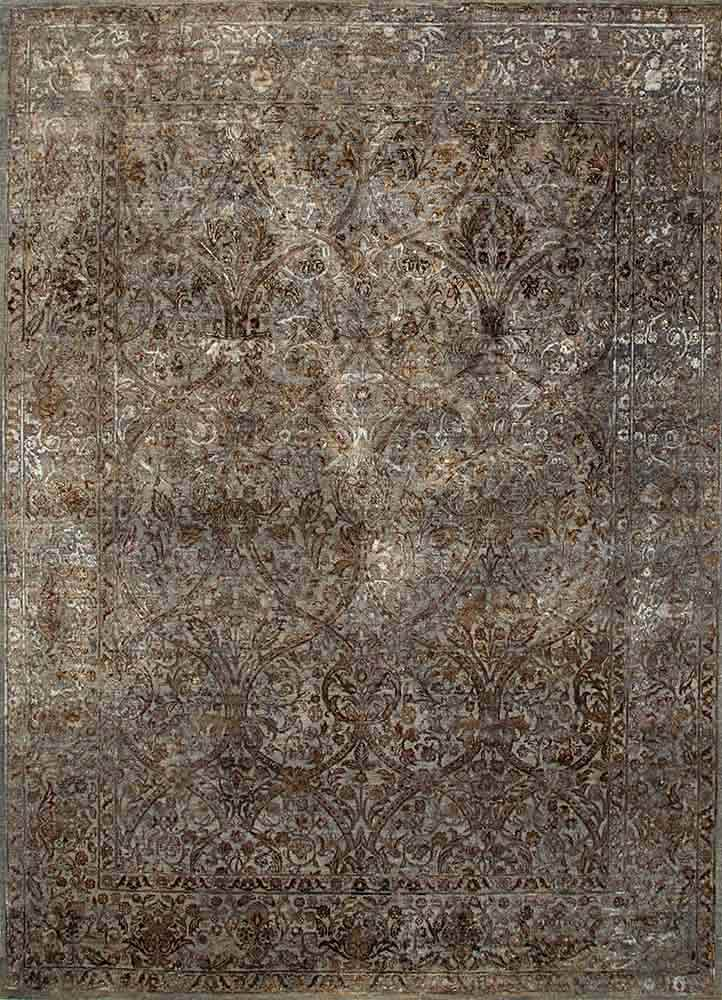 NE-2349 Medium Gray/Medium Gray grey and black wool and silk hand knotted Rug