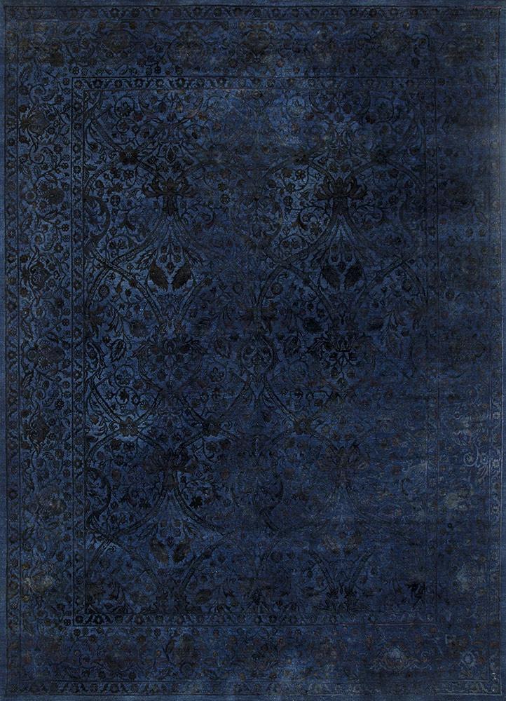 NE-2349 Medium Navy/Medium Navy blue wool and silk hand knotted Rug