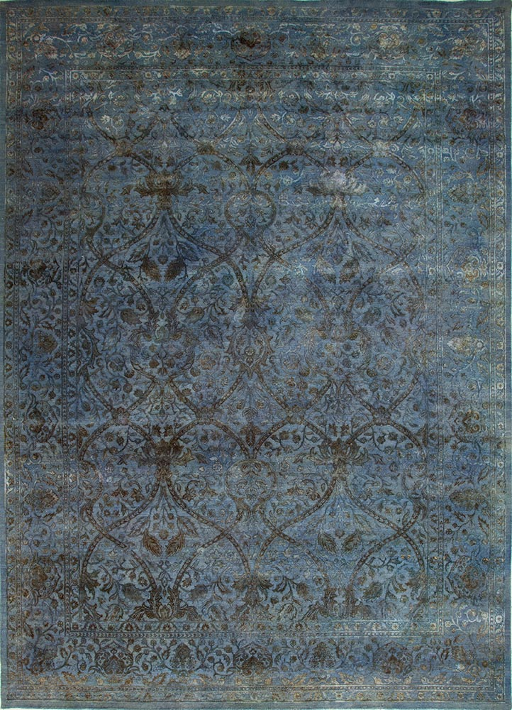 NE-2349 Chicory/Chicory blue wool and silk hand knotted Rug