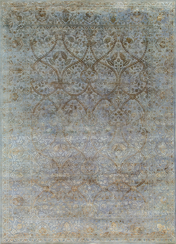 NE-2349 Dusty Blue/Dusty Blue blue wool and silk hand knotted Rug
