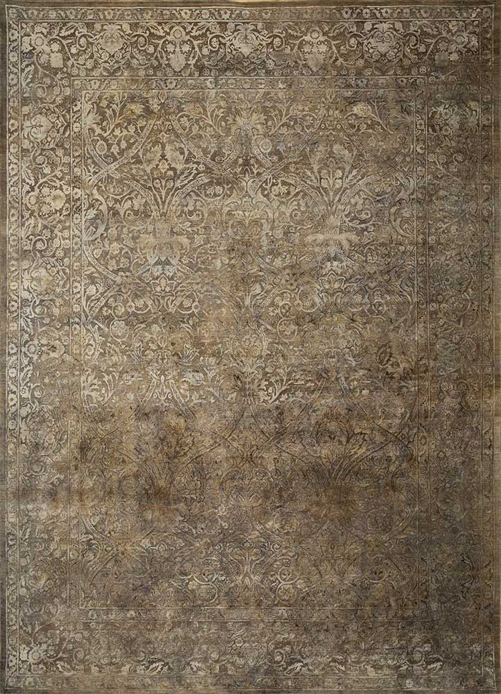 NE-2349 Pewter/Pewter grey and black wool and silk hand knotted Rug