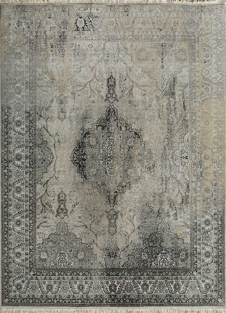 far east blue wool hand knotted Rug - HeadShot