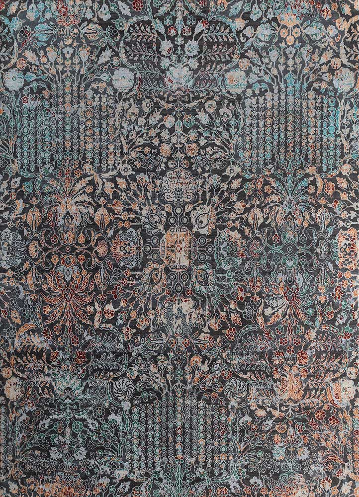 blithe blue wool and silk hand knotted Rug - HeadShot