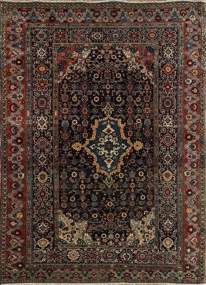 antique blue wool hand knotted Rug - HeadShot
