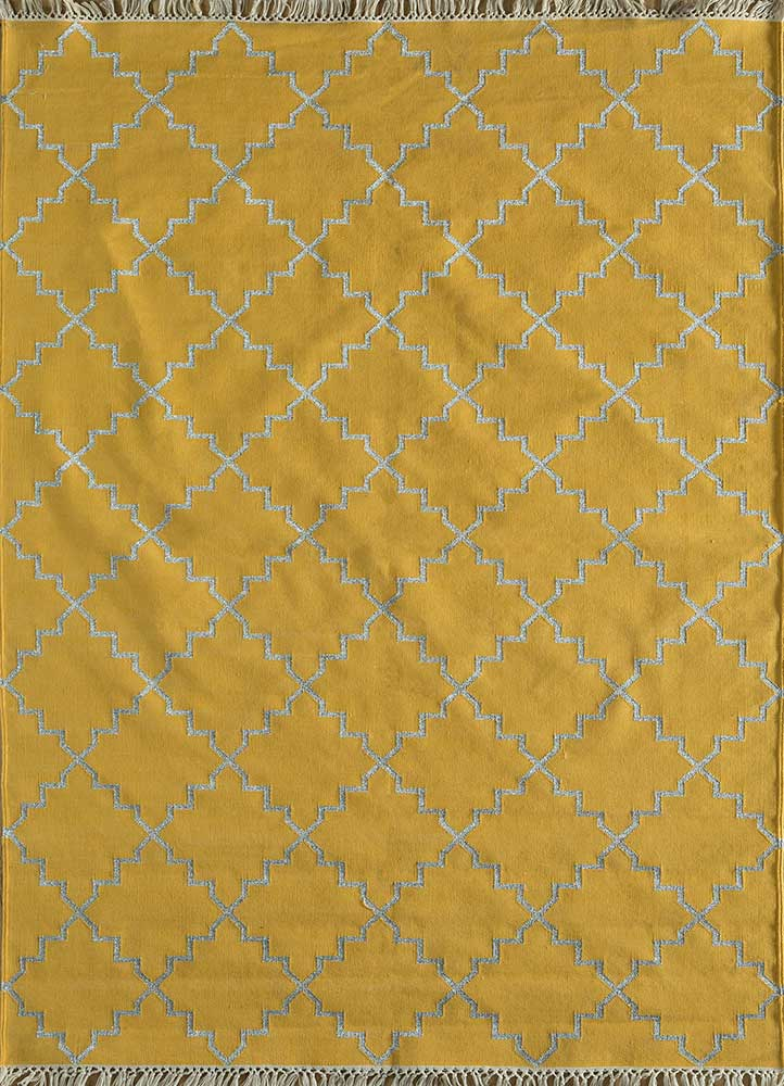 PDCG-12 Canary Yellow/Silver gold cotton flat weaves Rug