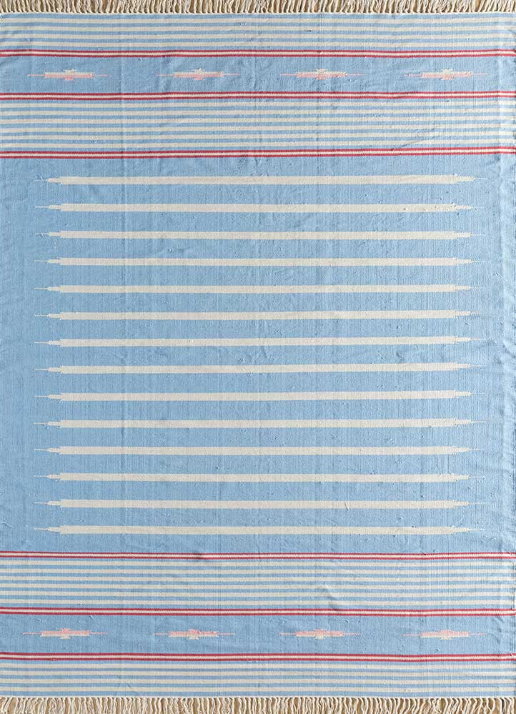 indusbar blue cotton flat weaves Rug - HeadShot