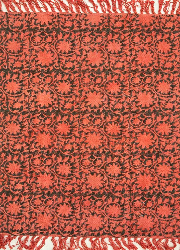 heritage red and orange cotton flat weaves Rug - HeadShot