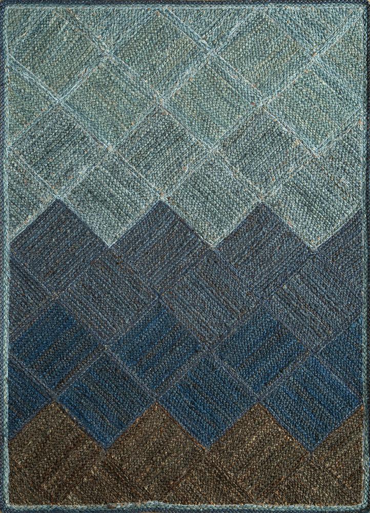 anatolia blue jute and hemp flat weaves Rug - HeadShot