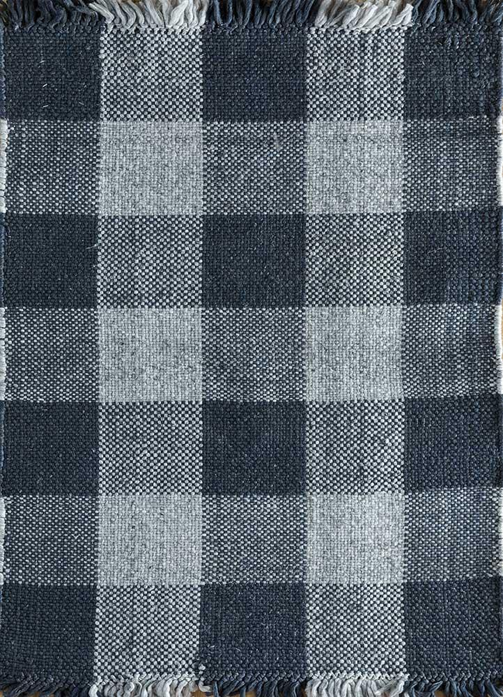 anatolia blue polyester flat weaves Rug - HeadShot
