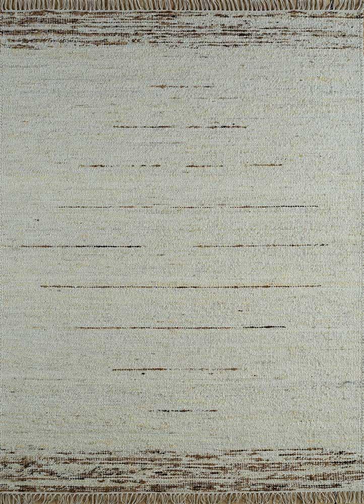 PDWL-511 Snow White/Wood Brown ivory wool flat weaves Rug