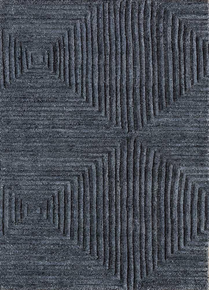 PHPV-145 Deep Blue/Deep Blue blue viscose hand loom Rug