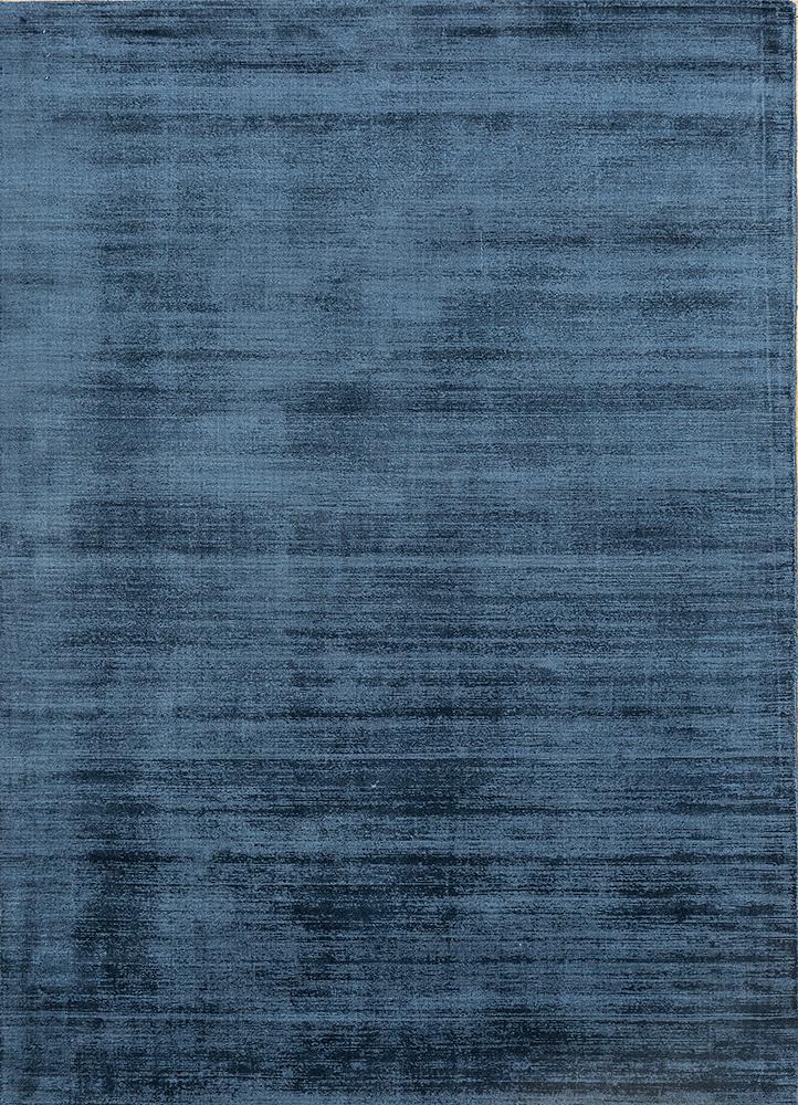 yasmin blue viscose hand loom Rug - HeadShot