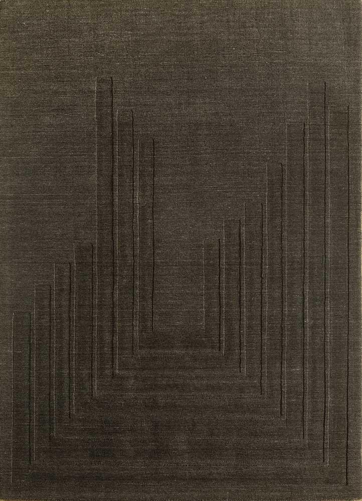 oxford grey and black wool hand loom Rug - HeadShot