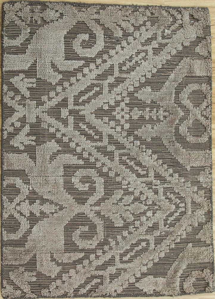 acar beige and brown wool and viscose hand loom Rug - HeadShot