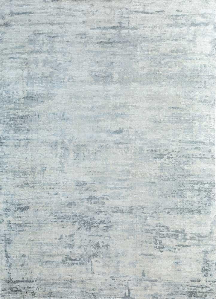 entropy blue wool and viscose hand loom Rug - HeadShot