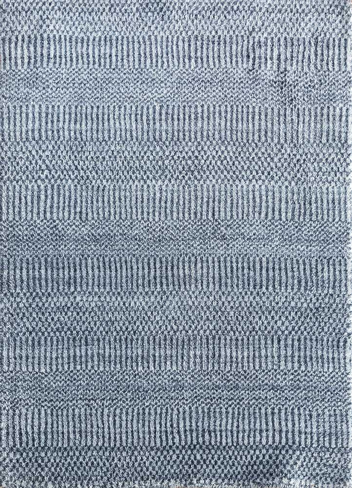 graze blue wool and viscose hand loom Rug - HeadShot