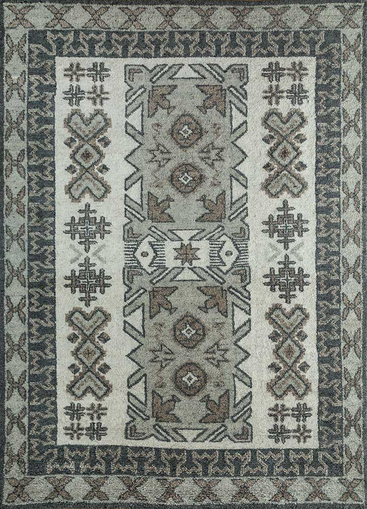 PKWL-677 Snow White/Deep Blue ivory wool hand knotted Rug