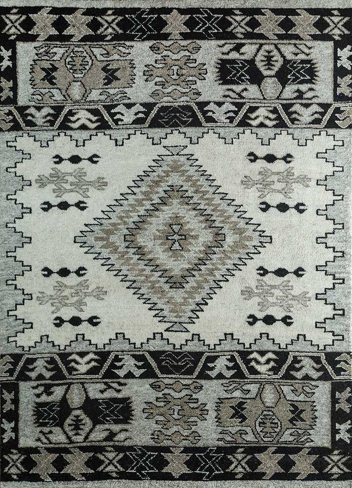 PKWL-686 Snow White/Ebony ivory wool hand knotted Rug