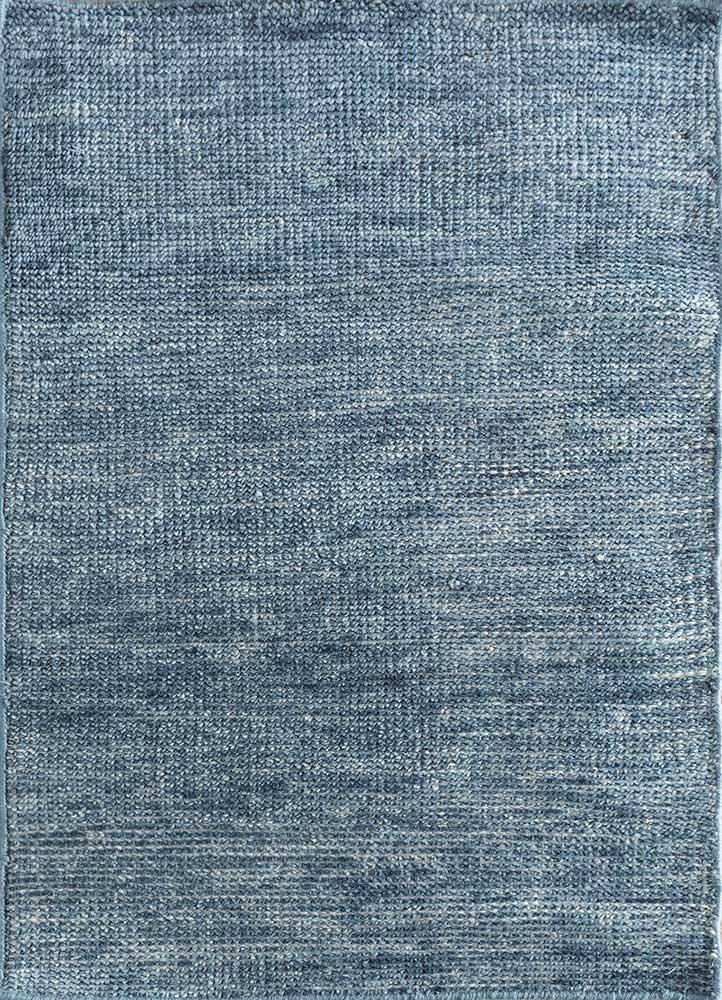 PKWL-718 Dark Denim/Dark Denim blue wool hand knotted Rug