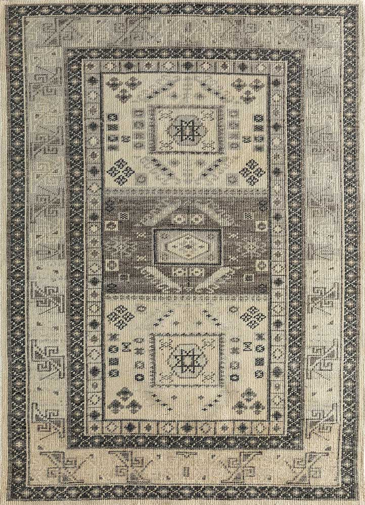 PKWL-732 Winter White/Black Berry ivory wool hand knotted Rug