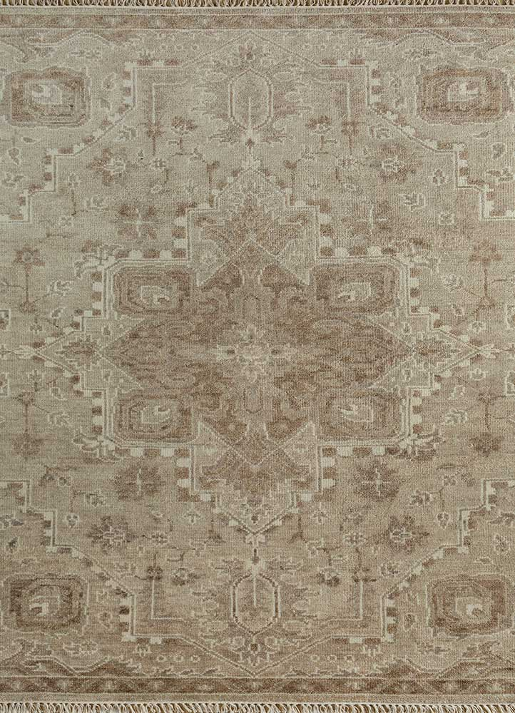 liberty beige and brown wool hand knotted Rug - HeadShot