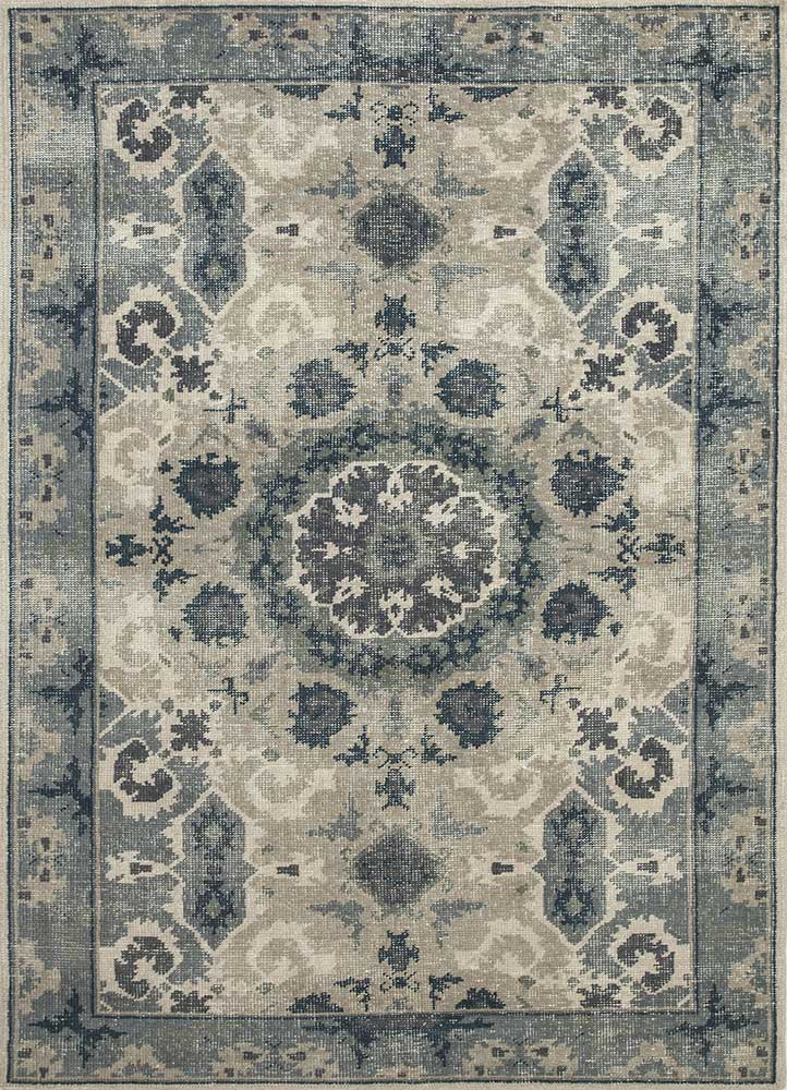 revolution beige and brown wool hand knotted Rug - HeadShot