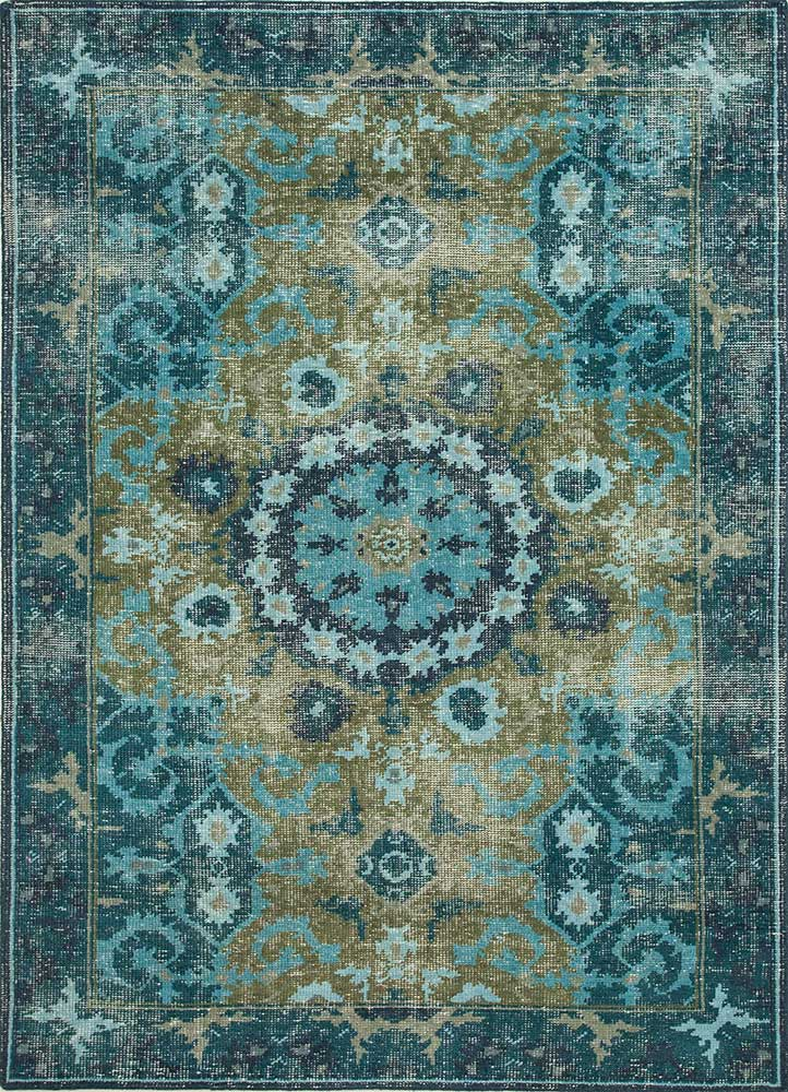 PKWL-8002 Green/Peacock Blue green wool hand knotted Rug