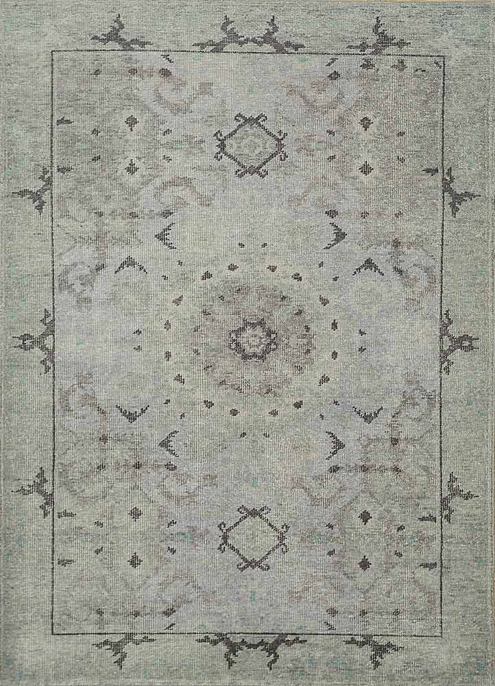 PKWL-8002 Glacier Gray/Sea Blue blue wool hand knotted Rug