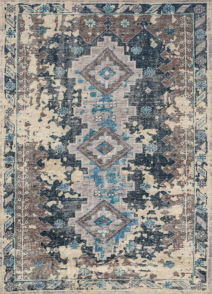 PKWL-8017 Navy/Lead Gray blue wool hand knotted Rug