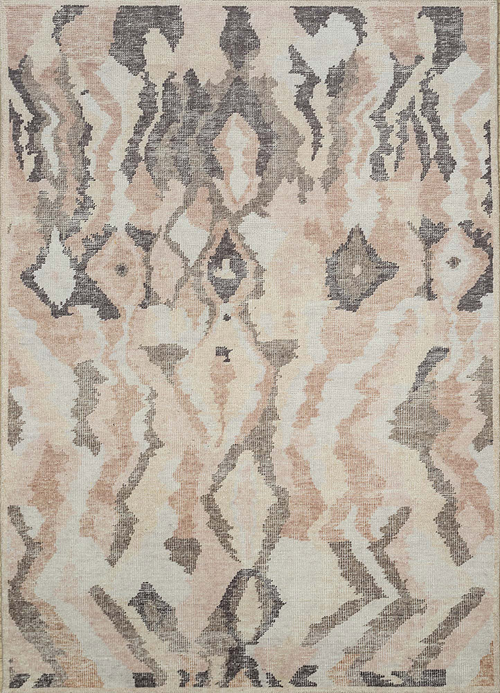 PKWL-8020 White/Light Beige ivory wool hand knotted Rug