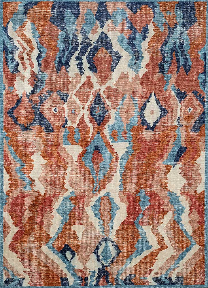 revolution red and orange wool hand knotted Rug - HeadShot