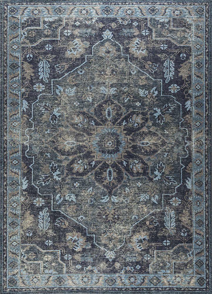 PKWL-8023 Navy/Ink Blue blue wool hand knotted Rug