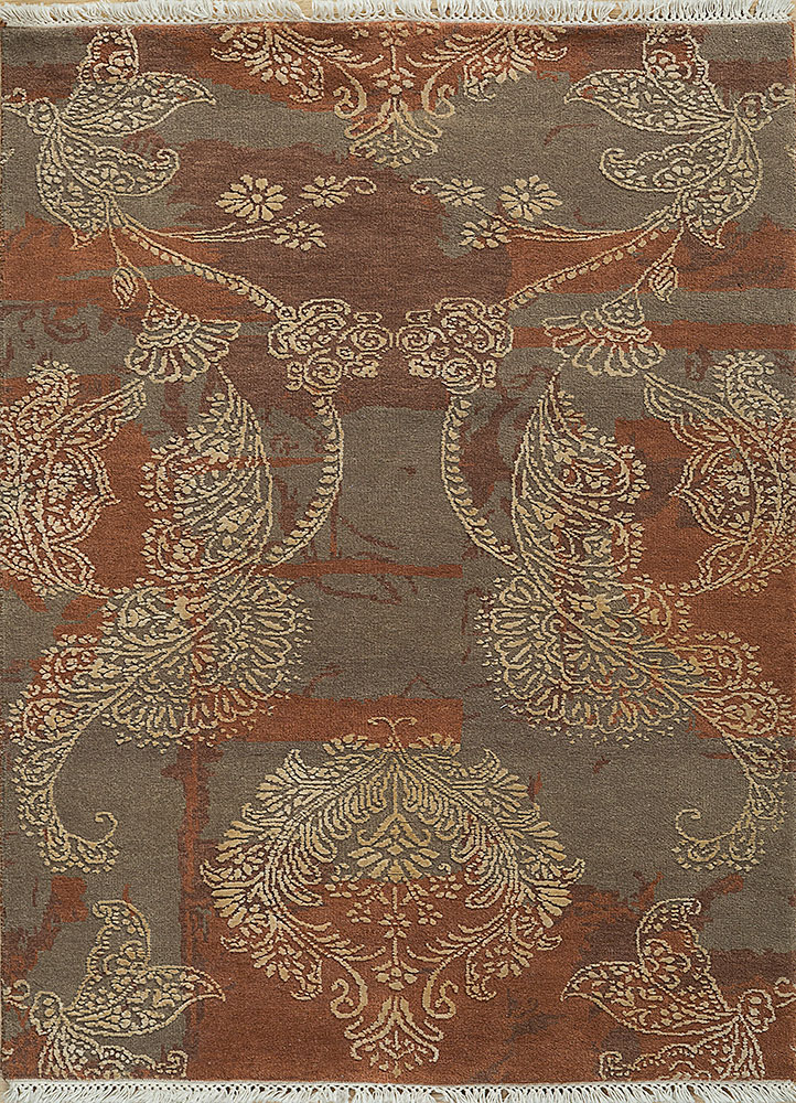PKWS-470 Light Rust/Deep Rose red and orange wool and silk hand knotted Rug