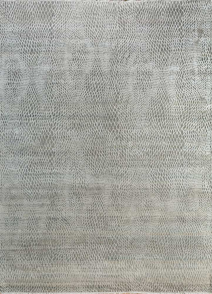 entropy blue wool and silk hand knotted Rug - HeadShot