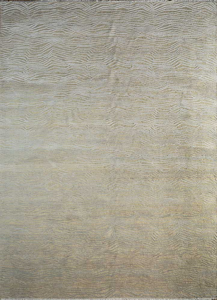entropy ivory wool and silk hand knotted Rug - HeadShot