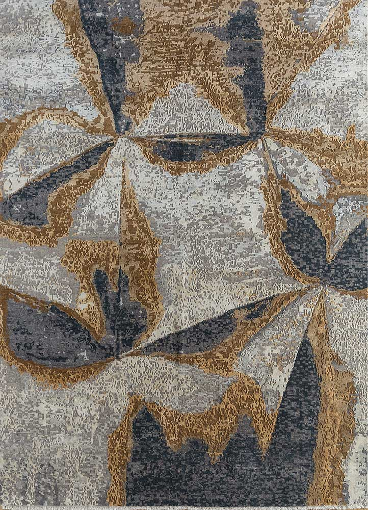 kibrast blue wool and silk hand knotted Rug - HeadShot