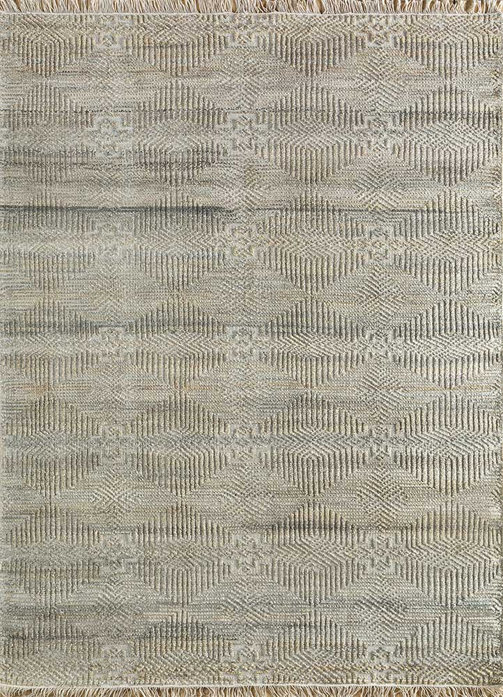revolution beige and brown wool and viscose hand knotted Rug - HeadShot
