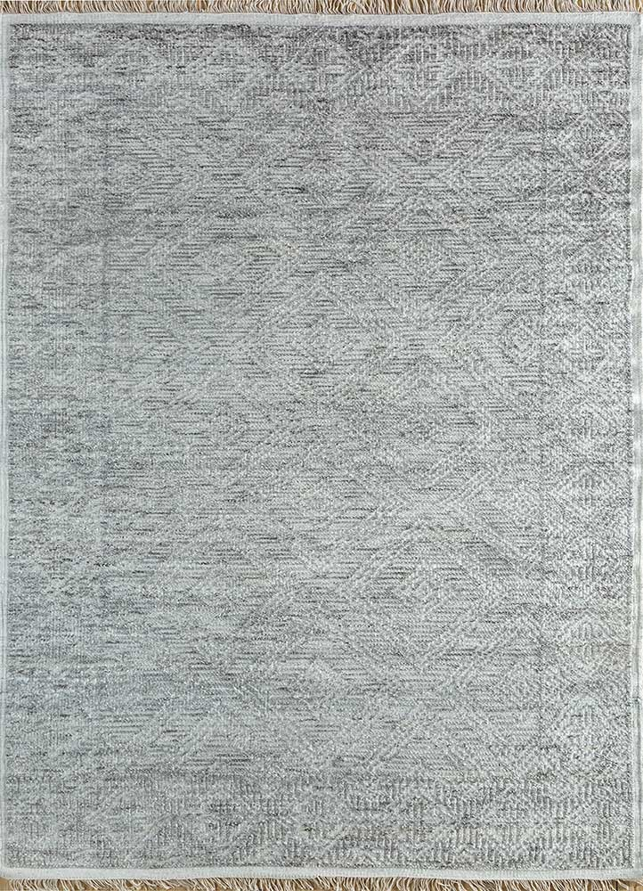 revolution ivory wool and viscose hand knotted Rug - HeadShot