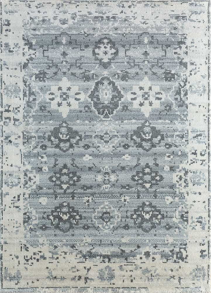 eden ivory wool and viscose hand knotted Rug - HeadShot