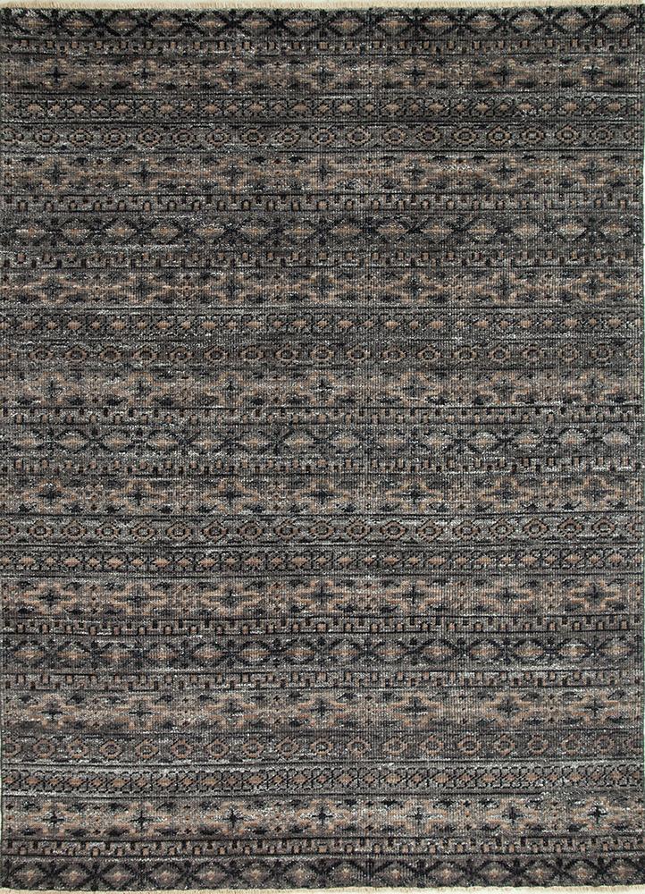 viscaya grey and black wool and viscose hand knotted Rug - HeadShot