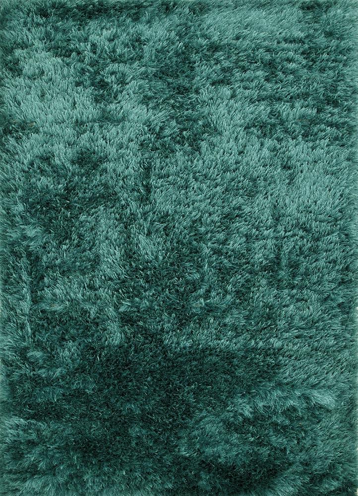 verve blue polyester shag Rug - HeadShot